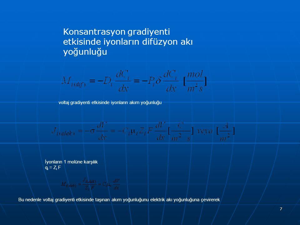 7 Konsantrasyon gradiyenti etkisinde iyonların difüzyon akı yoğunluğu voltaj gradiyenti etkisinde iyonların akım yoğunluğu İyonların 1 molüne karşılık