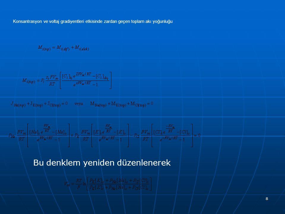 8 Konsantrasyon ve voltaj gradiyentleri etkisinde zardan geçen toplam akı yoğunluğu Bu denklem yeniden düzenlenerek
