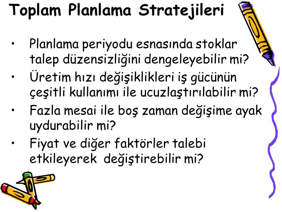 Toplam Planlama Stratejileri Planlama periyodu esnasında stoklar talep düzensizliğini dengeleyebilir mi.