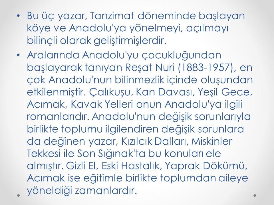 Bu üç yazar, Tanzimat döneminde başlayan köye ve Anadolu'ya yönelmeyi, açılmayı bilinçli olarak geliştirmişlerdir. Aralarında Anadolu'yu çocukluğundan