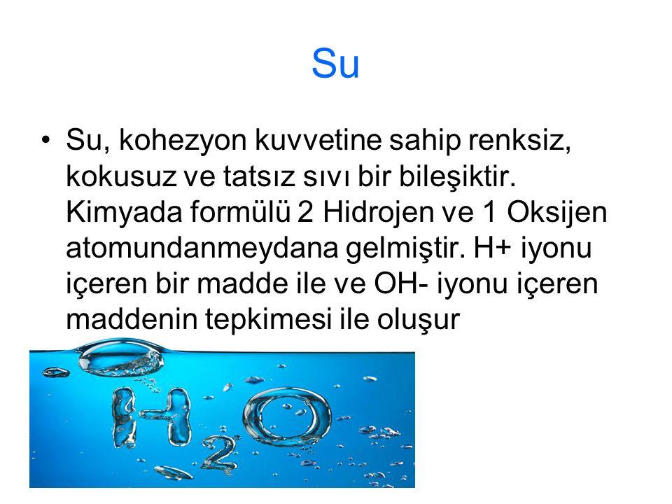 Su Su, kohezyon kuvvetine sahip renksiz, kokusuz ve tatsız sıvı bir bileşiktir. Kimyada formülü 2 Hidrojen ve 1 Oksijen atomundanmeydana gelmiştir. H+