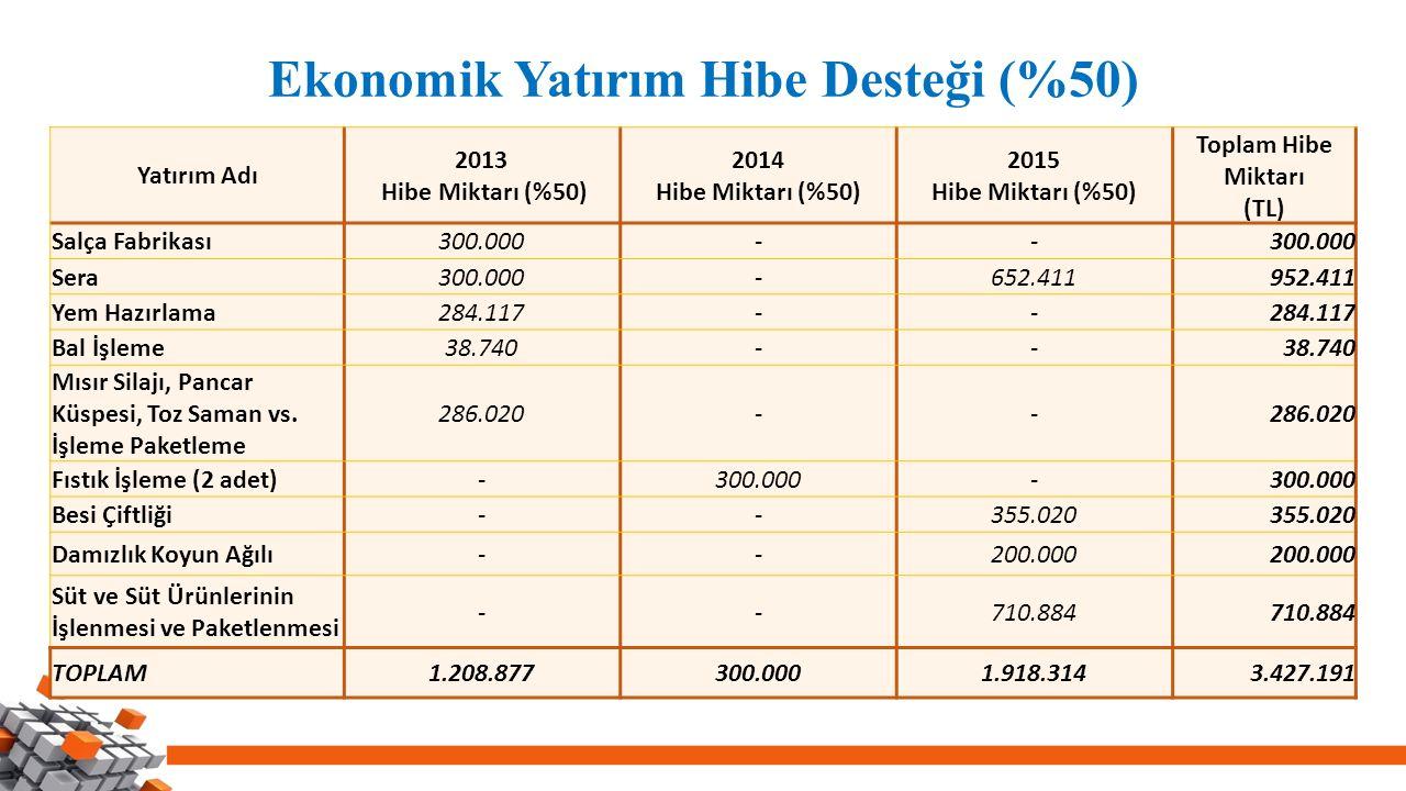Ekonomik Yatırım Hibe Desteği (%50) Yatırım Adı 2013 Hibe Miktarı (%50) 2014 Hibe Miktarı (%50) 2015 Hibe Miktarı (%50) Toplam Hibe Miktarı (TL) Salça Fabrikası300.000-- Sera300.000-652.411952.411 Yem Hazırlama284.117-- Bal İşleme38.740-- Mısır Silajı, Pancar Küspesi, Toz Saman vs.