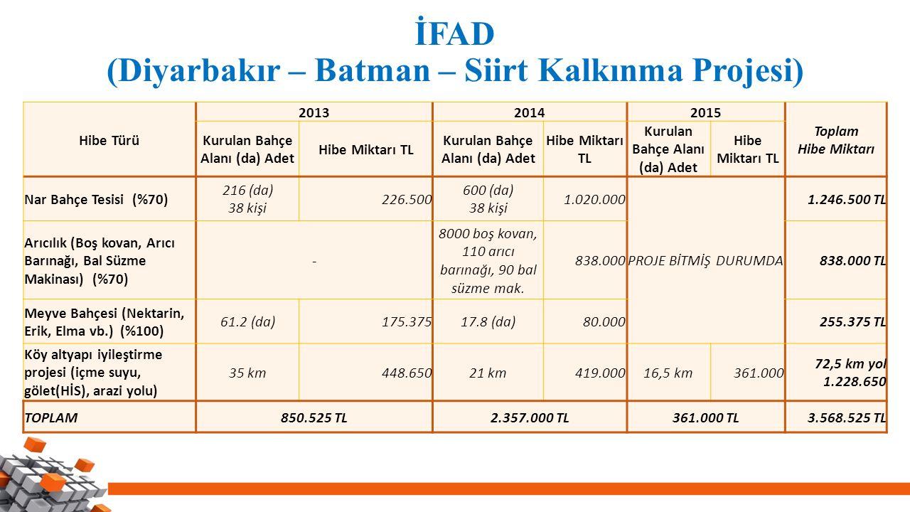 İFAD (Diyarbakır – Batman – Siirt Kalkınma Projesi) Hibe Türü 201320142015 Toplam Hibe Miktarı Kurulan Bahçe Alanı (da) Adet Hibe Miktarı TL Kurulan B