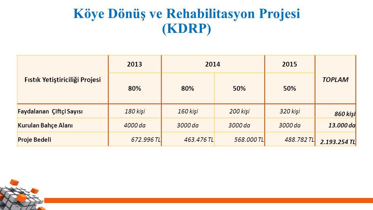 Köye Dönüş ve Rehabilitasyon Projesi (KDRP) Fıstık Yetiştiriciliği Projesi 201320142015 TOPLAM 80% 50% Faydalanan Çiftçi Sayısı180 kişi160 kişi200 kişi320 kişi 860 kişi Kurulan Bahçe Alanı4000 da3000 da 13.000 da Proje Bedeli672.996 TL463.476 TL568.000 TL488.782 TL 2.193.254 TL