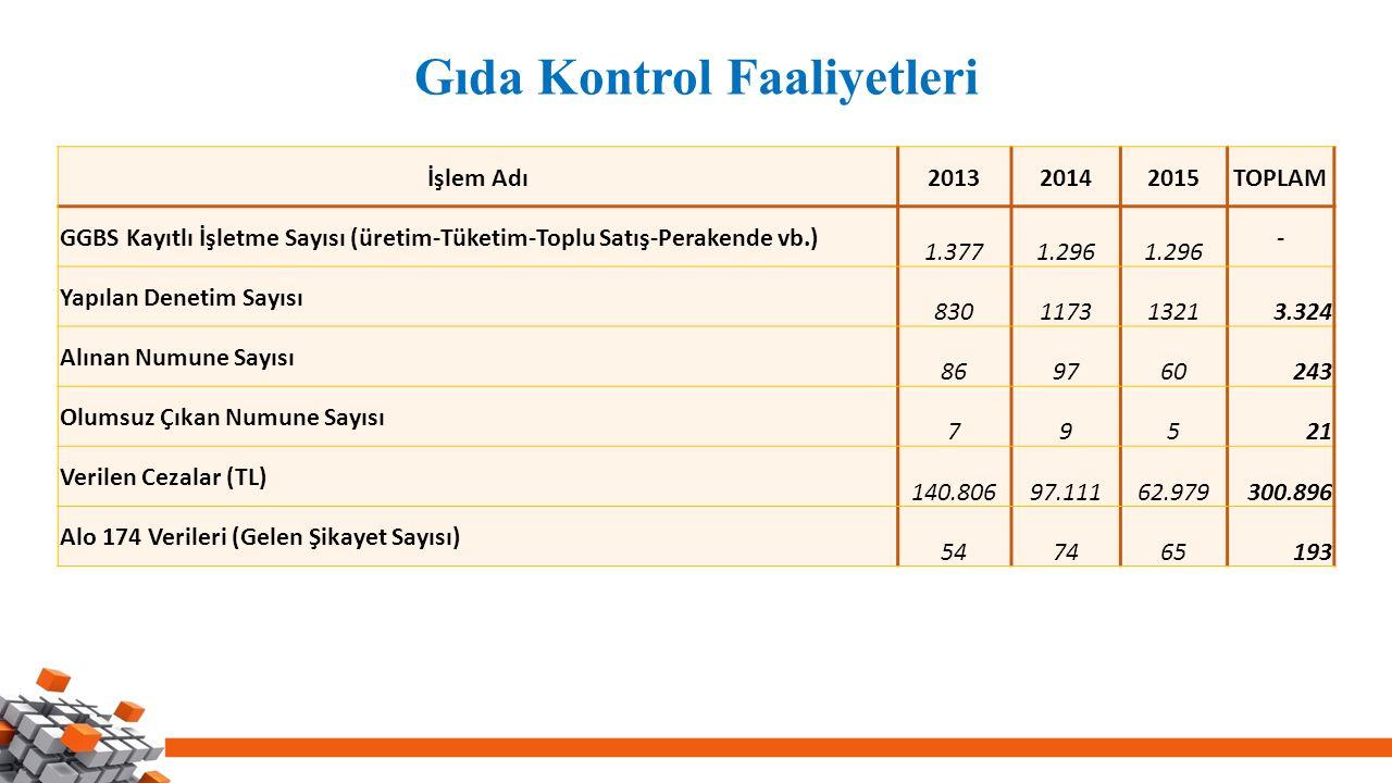 Gıda Kontrol Faaliyetleri İşlem Adı201320142015TOPLAM GGBS Kayıtlı İşletme Sayısı (üretim-Tüketim-Toplu Satış-Perakende vb.) 1.3771.296 - Yapılan Dene
