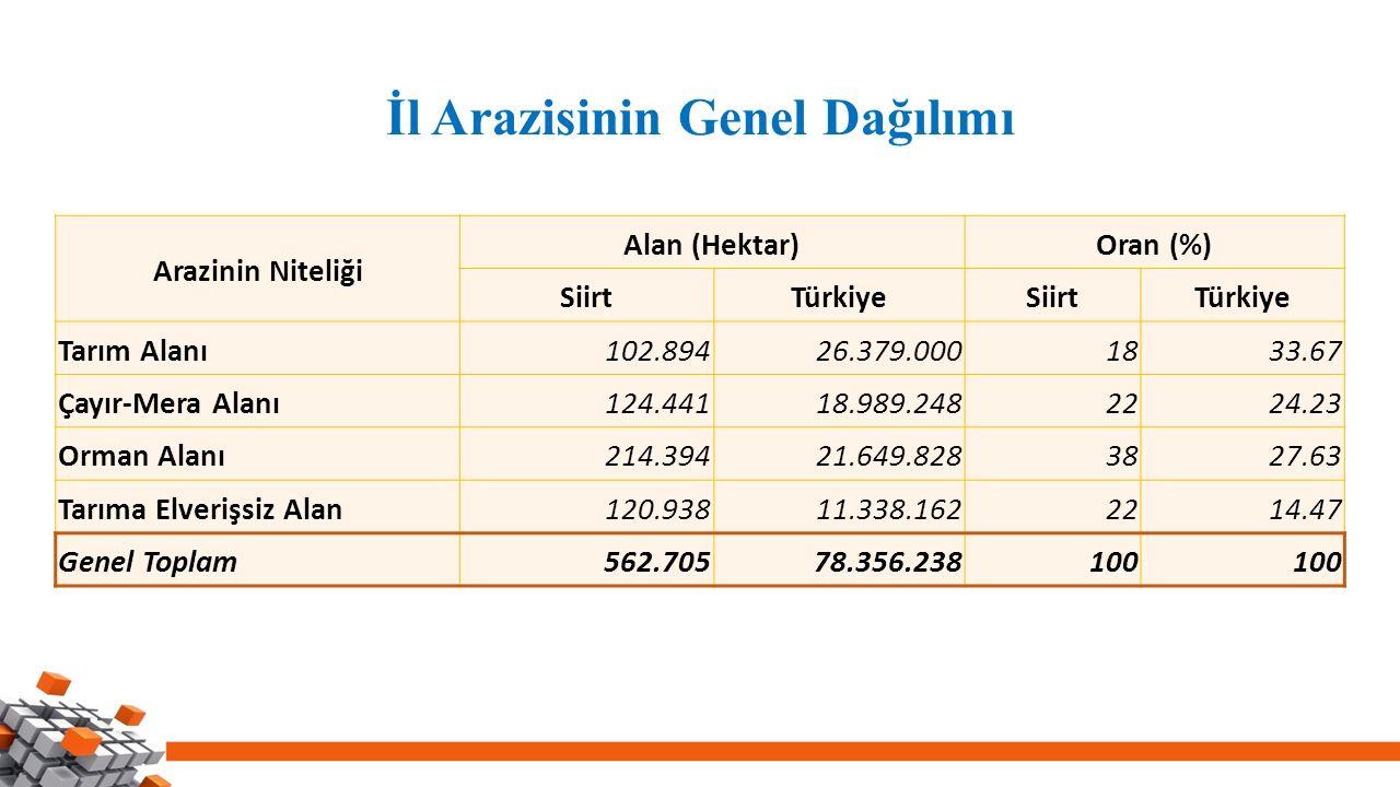 İl Arazisinin Genel Dağılımı Arazinin Niteliği Alan (Hektar)Oran (%) SiirtTürkiyeSiirtTürkiye Tarım Alanı102.89426.379.0001833.67 Çayır-Mera Alanı124.