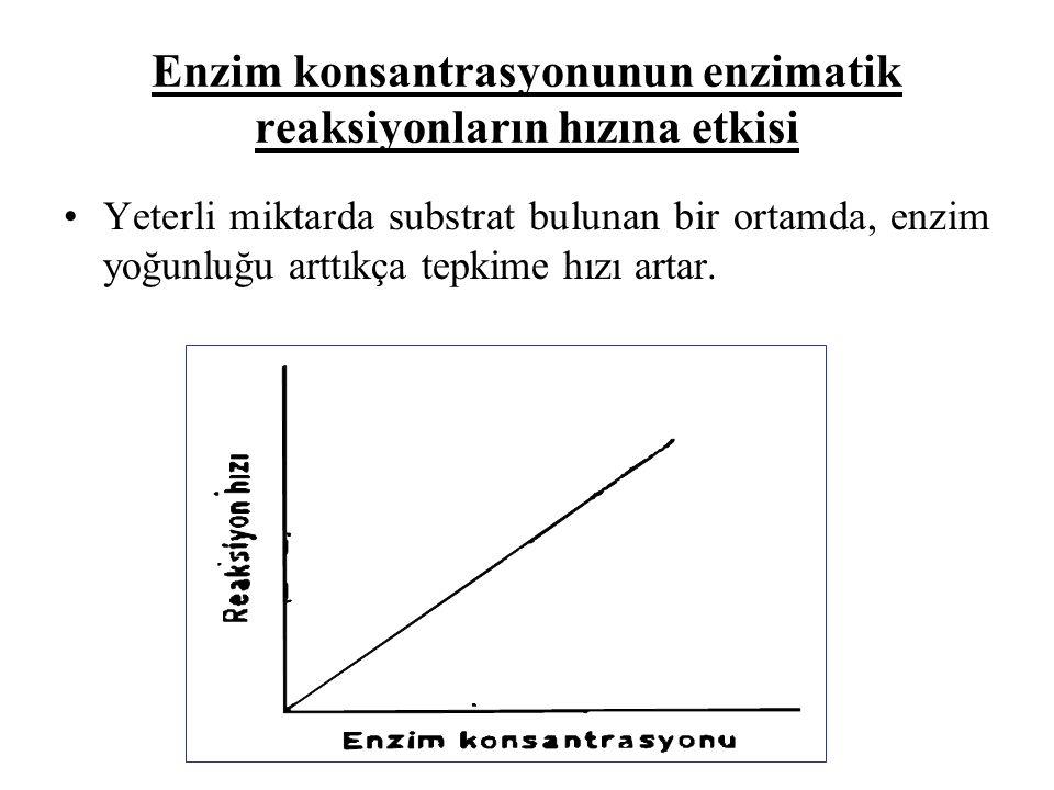 Enzim konsantrasyonunun enzimatik reaksiyonların hızına etkisi Yeterli miktarda substrat bulunan bir ortamda, enzim yoğunluğu arttıkça tepkime hızı artar.