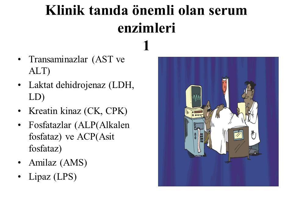 Klinik tanıda önemli olan serum enzimleri 1 Transaminazlar (AST ve ALT) Laktat dehidrojenaz (LDH, LD) Kreatin kinaz (CK, CPK) Fosfatazlar (ALP(Alkalen fosfataz) ve ACP(Asit fosfataz) Amilaz (AMS) Lipaz (LPS)