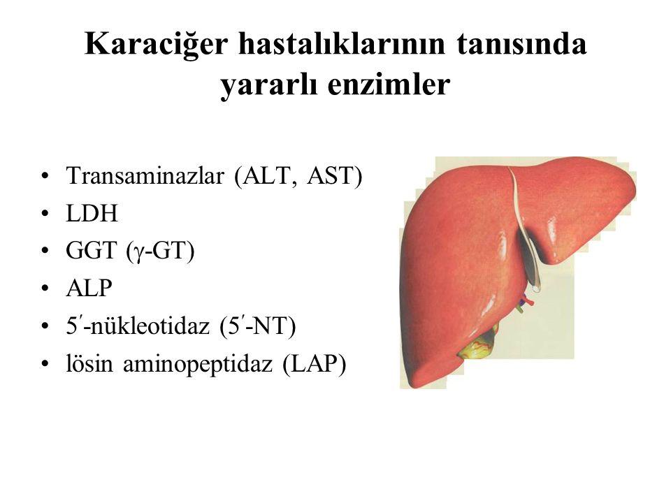 Karaciğer hastalıklarının tanısında yararlı enzimler Transaminazlar (ALT, AST) LDH GGT (  -GT) ALP 5-nükleotidaz (5-NT) lösin aminopeptidaz (LAP)
