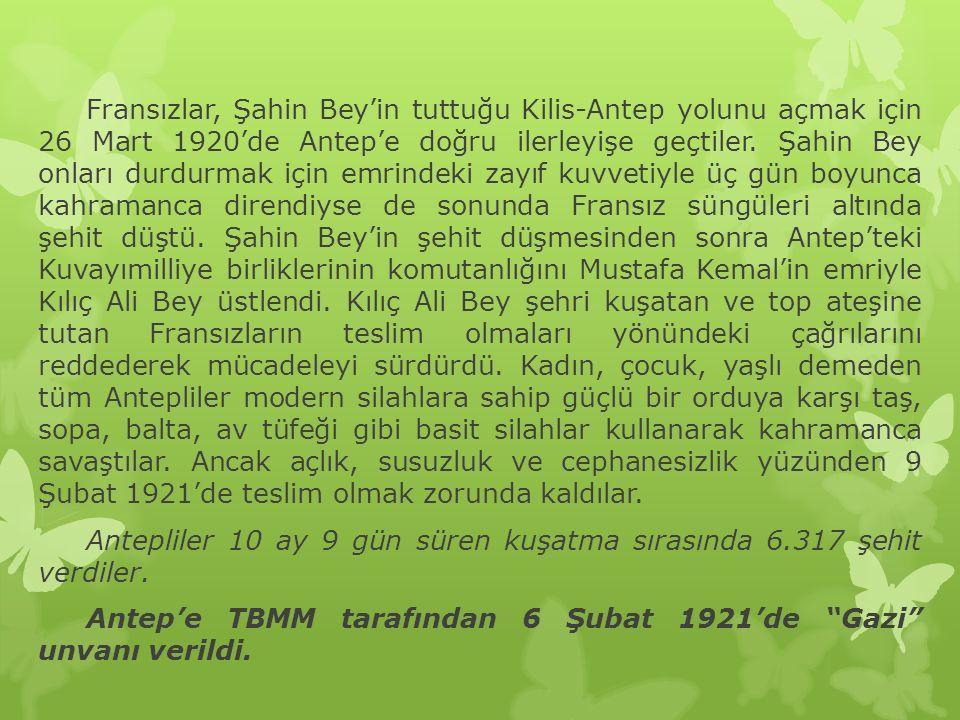 Fransızlar, Şahin Bey'in tuttuğu Kilis-Antep yolunu açmak için 26 Mart 1920'de Antep'e doğru ilerleyişe geçtiler.