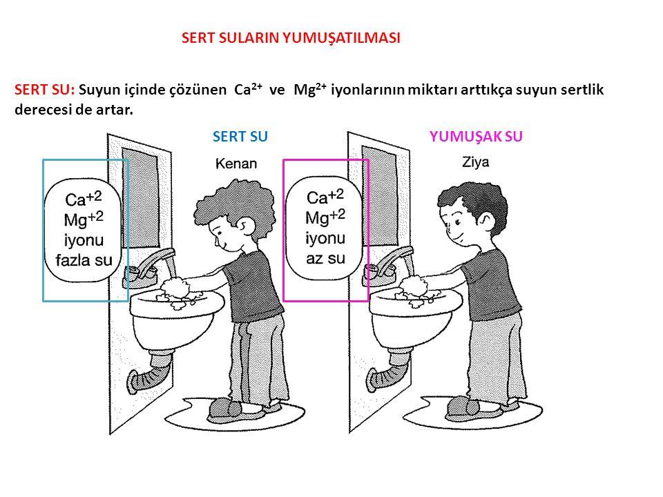 SERT SULARIN YUMUŞATILMASI SERT SU: Suyun içinde çözünen Ca 2+ ve Mg 2+ iyonlarının miktarı arttıkça suyun sertlik derecesi de artar. SERT SUYUMUŞAK S