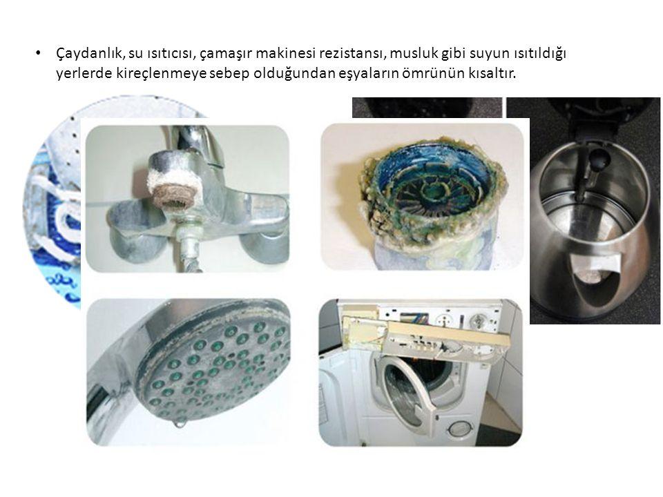 Çaydanlık, su ısıtıcısı, çamaşır makinesi rezistansı, musluk gibi suyun ısıtıldığı yerlerde kireçlenmeye sebep olduğundan eşyaların ömrünün kısaltır.