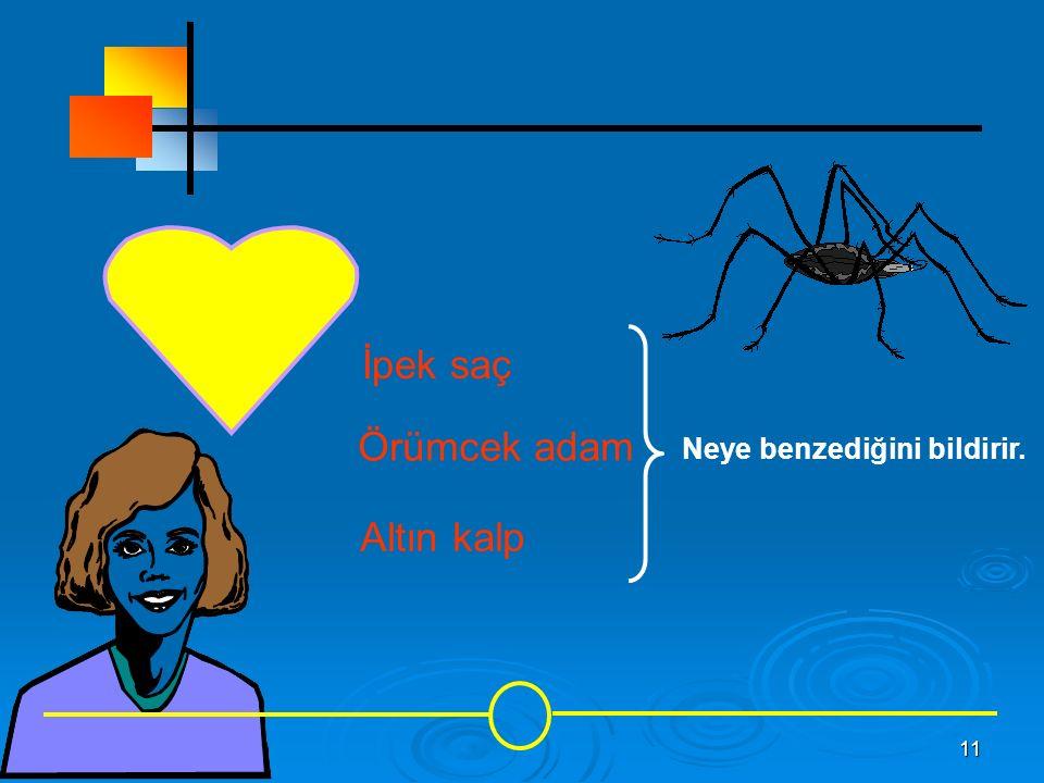 11 İpek saç Örümcek adam Altın kalp Neye benzediğini bildirir.