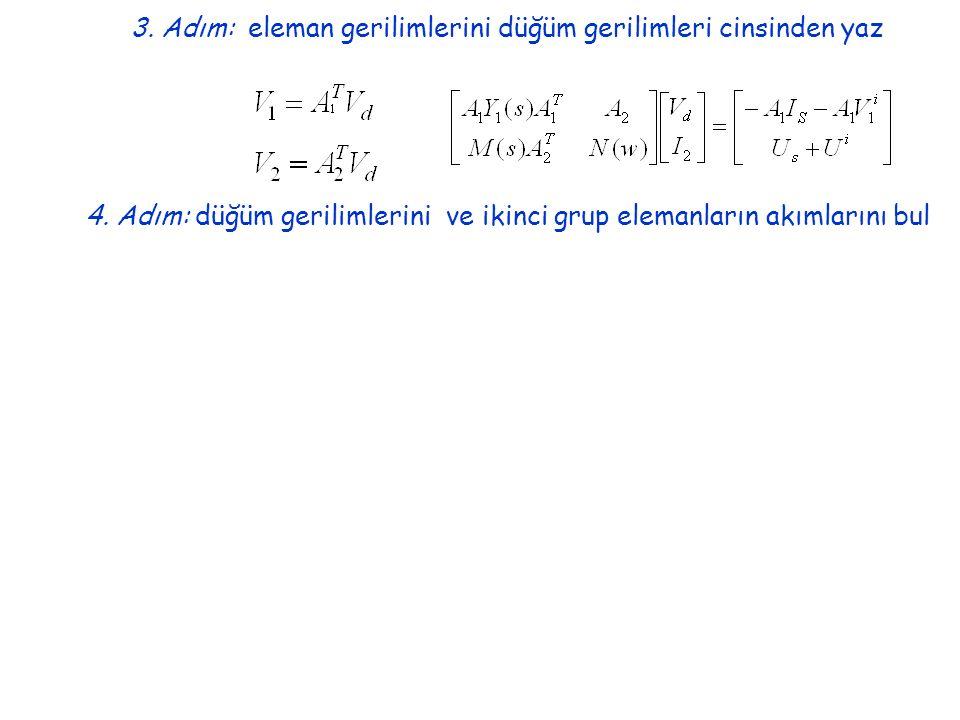 3. Adım: eleman gerilimlerini düğüm gerilimleri cinsinden yaz 4.