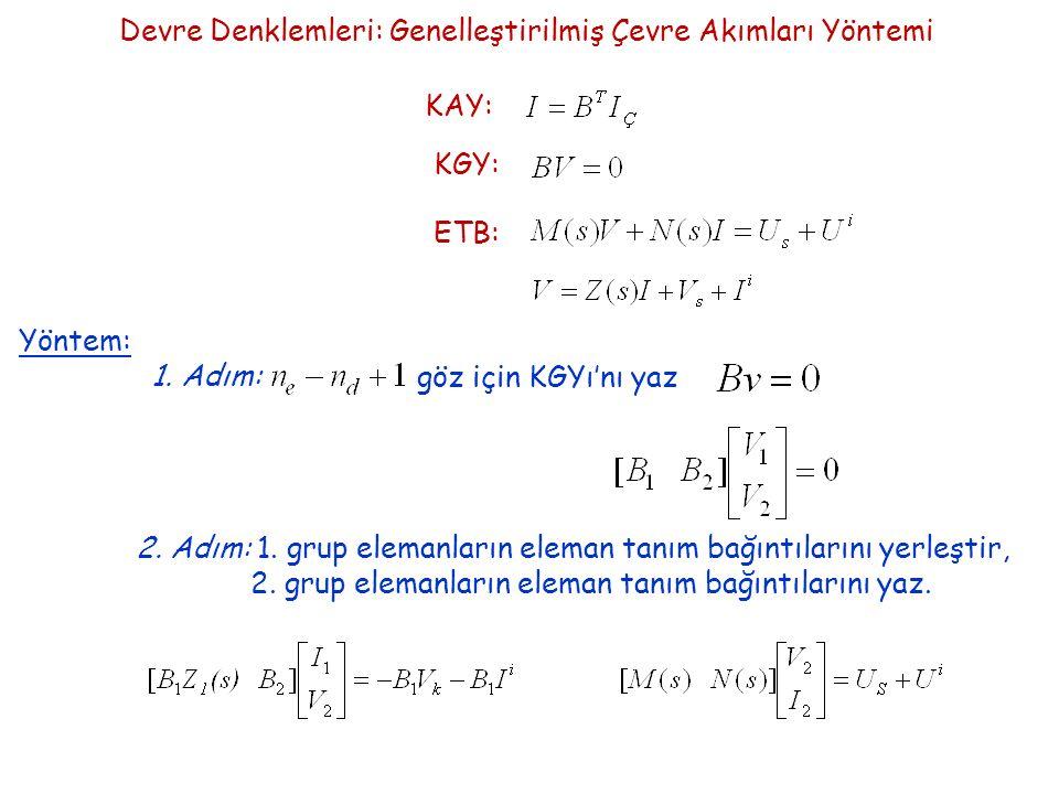 Devre Denklemleri: Genelleştirilmiş Çevre Akımları Yöntemi KAY: KGY: ETB: Yöntem: 1.