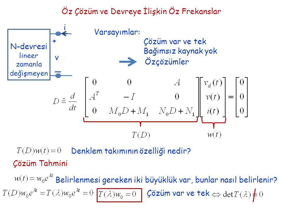 Öz Çözüm ve Devreye İlişkin Öz Frekanslar + _ v i N-devresi lineer zamanla değişmeyen Varsayımlar: Çözüm var ve tek Bağımsız kaynak yok Özçözümler Denklem takımının özelliği nedir.