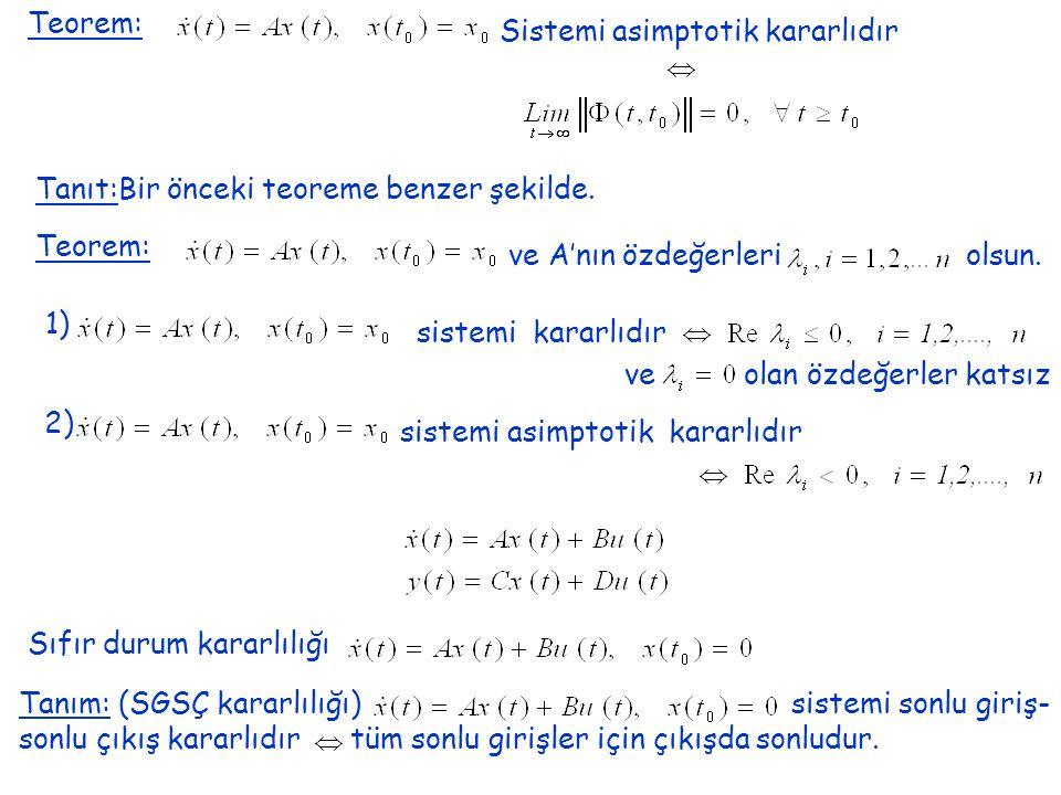 Teorem: Sistemi asimptotik kararlıdır Tanıt:Bir önceki teoreme benzer şekilde.