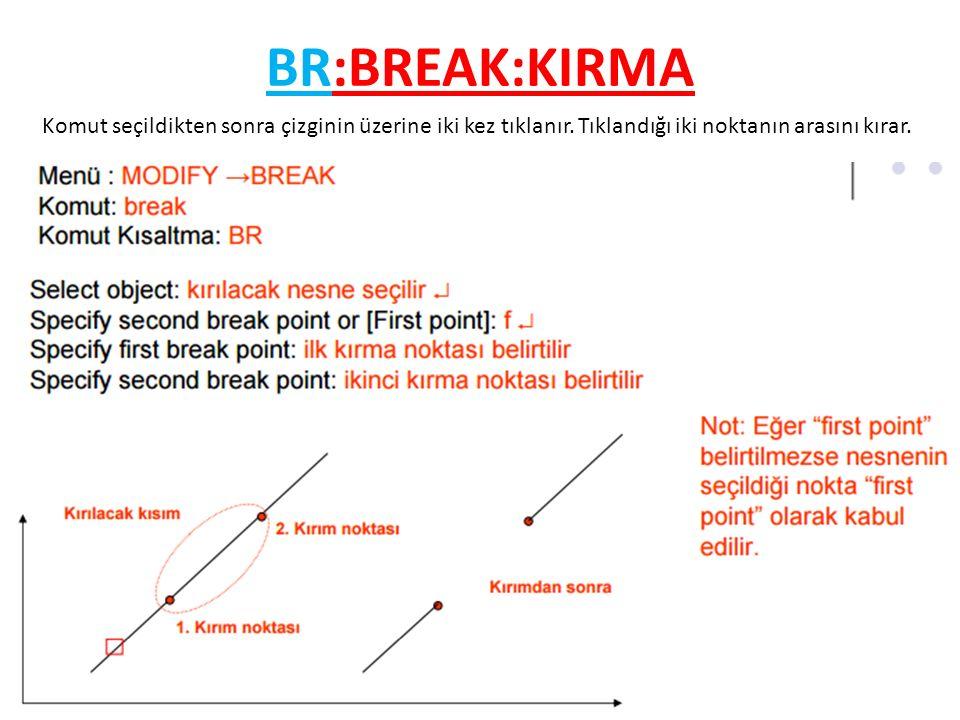 BR:BREAK:KIRMA Komut seçildikten sonra çizginin üzerine iki kez tıklanır.