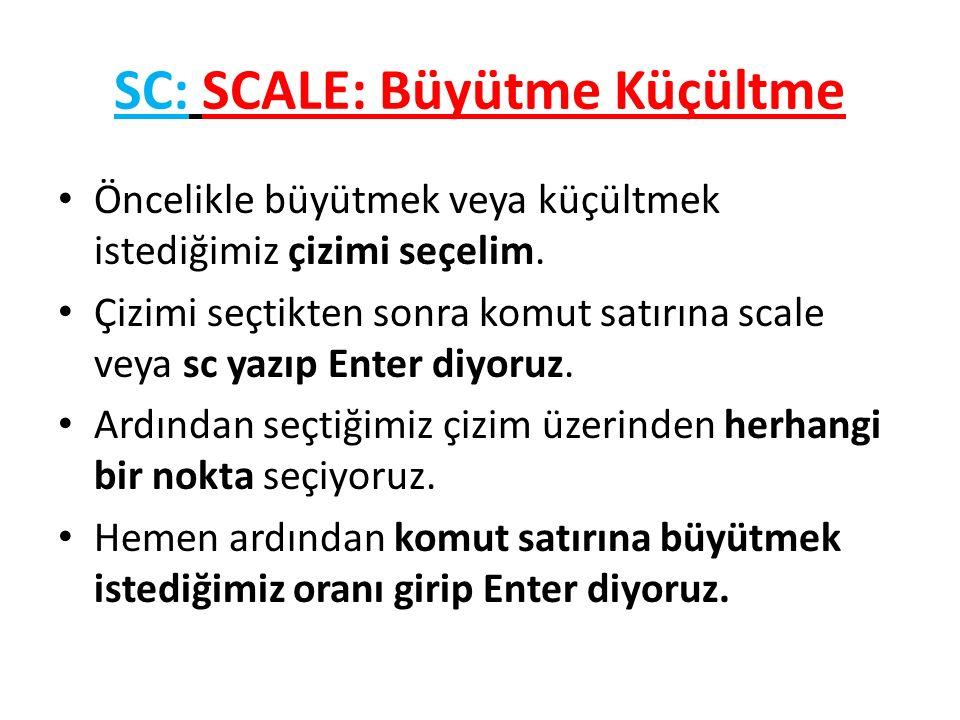 SC: SCALE: Büyütme Küçültme Öncelikle büyütmek veya küçültmek istediğimiz çizimi seçelim.