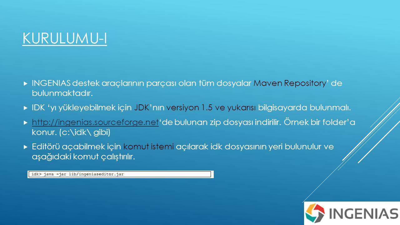 KURULUMU-I  INGENIAS destek araçlarının parçası olan tüm dosyalar Maven Repository' de bulunmaktadır.
