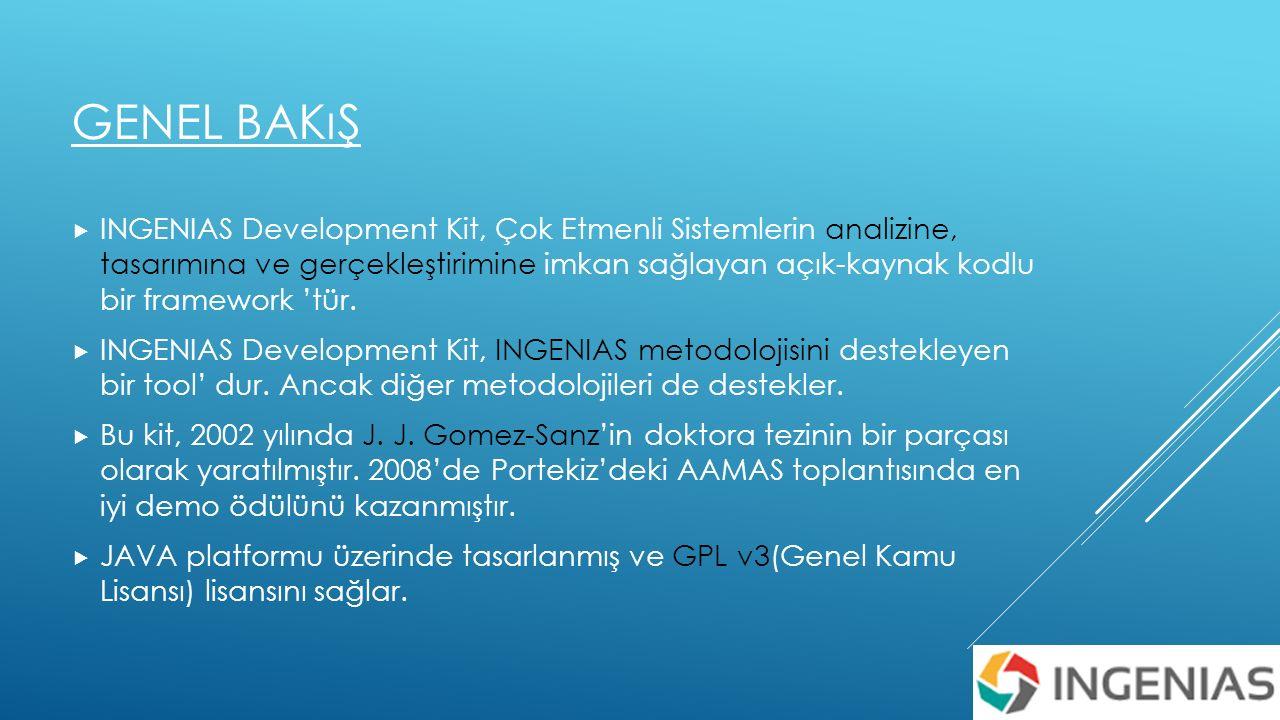 GENEL BAKıŞ  INGENIAS Development Kit, Çok Etmenli Sistemlerin analizine, tasarımına ve gerçekleştirimine imkan sağlayan açık-kaynak kodlu bir framework 'tür.