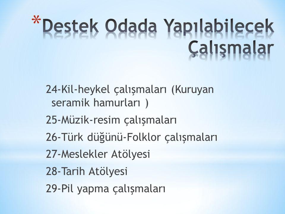 24-Kil-heykel çalışmaları (Kuruyan seramik hamurları ) 25-Müzik-resim çalışmaları 26-Türk düğünü-Folklor çalışmaları 27-Meslekler Atölyesi 28-Tarih Atölyesi 29-Pil yapma çalışmaları
