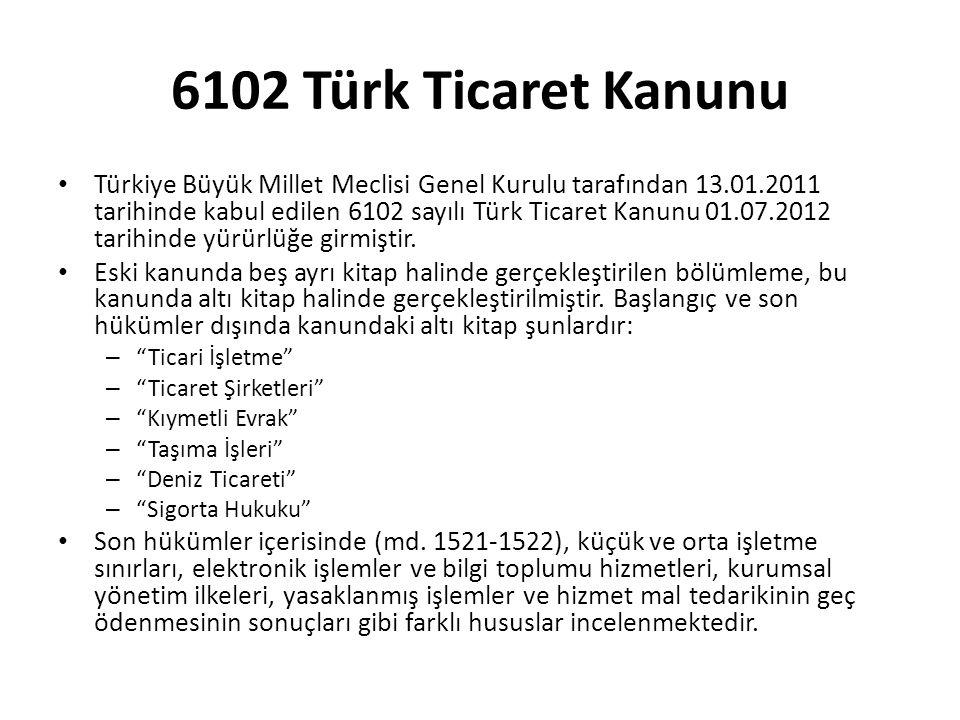 Türkiye Büyük Millet Meclisi Genel Kurulu tarafından 13.01.2011 tarihinde kabul edilen 6102 sayılı Türk Ticaret Kanunu 01.07.2012 tarihinde yürürlüğe