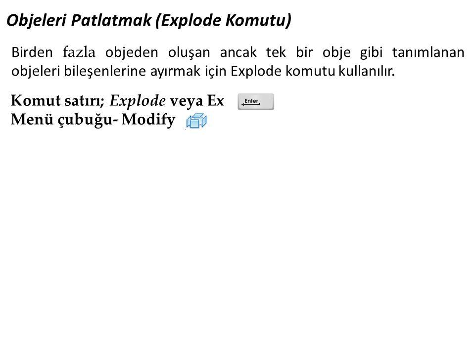 Objeleri Patlatmak (Explode Komutu) Komut satırı; Explode veya Ex Menü çubuğu- Modify Birden fazla objeden oluşan ancak tek bir obje gibi tanımlanan objeleri bileşenlerine ayırmak için Explode komutu kullanılır.