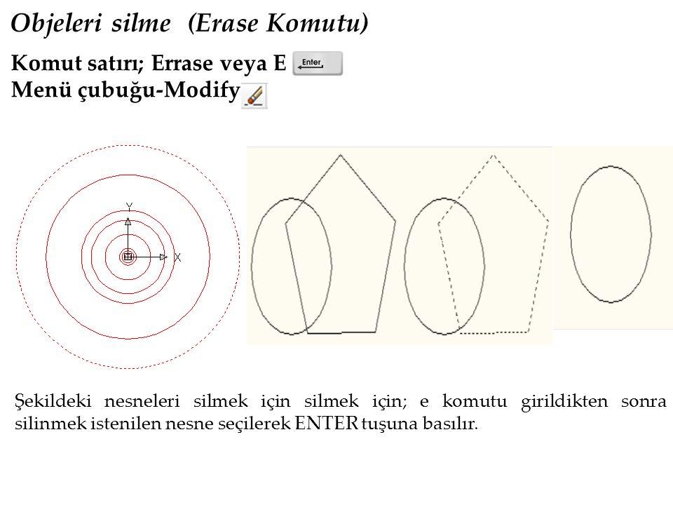 Komut satırı; Scale veya Sc Menü çubuğu- Modify Objeleri Ölçekle Büyütmek veya Küçültmek (Scale Komutu) Nesnenin ölçeğini değiştirerek yeniden istenilen ölçekli nesneyi oluşturmak için kullanılır.