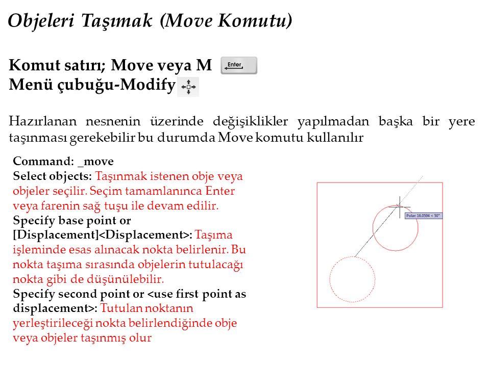 Objeleri Taşımak (Move Komutu) Komut satırı; Move veya M Menü çubuğu-Modify Hazırlanan nesnenin üzerinde değişiklikler yapılmadan başka bir yere taşınması gerekebilir bu durumda Move komutu kullanılır Command: _move Select objects: Taşınmak istenen obje veya objeler seçilir.