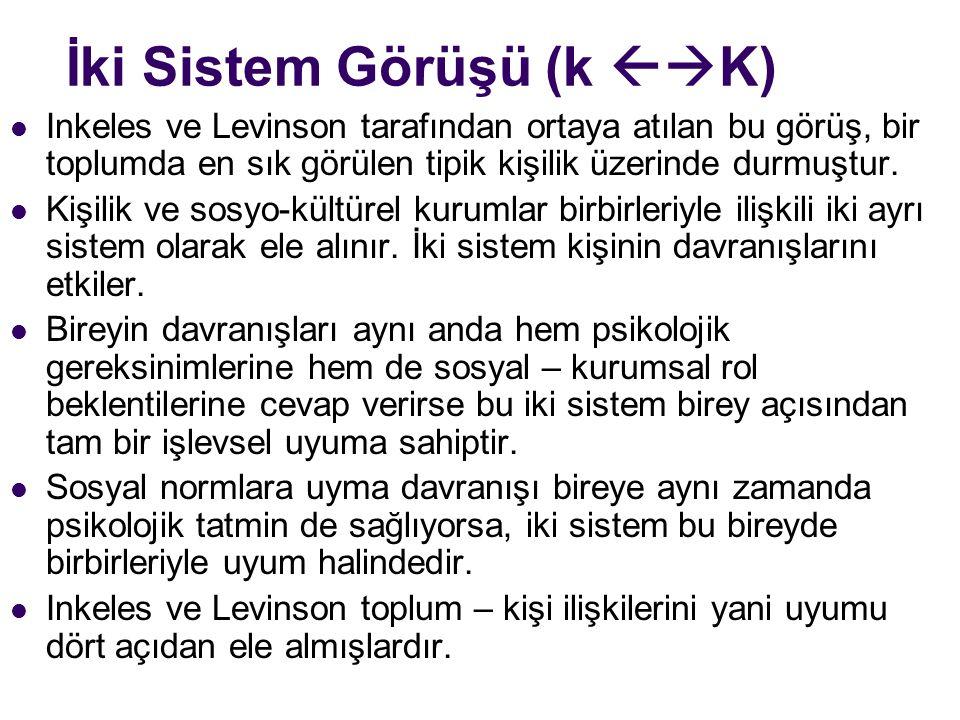 İki Sistem Görüşü (k  K) Inkeles ve Levinson tarafından ortaya atılan bu görüş, bir toplumda en sık görülen tipik kişilik üzerinde durmuştur.