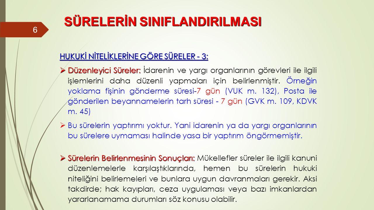 SÜRELERİN SINIFLANDIRILMASI 6 HUKUKİ NİTELİKLERİNE GÖRE SÜRELER - 3:  Düzenleyici Süreler:  Düzenleyici Süreler: İdarenin ve yargı organlarının göre