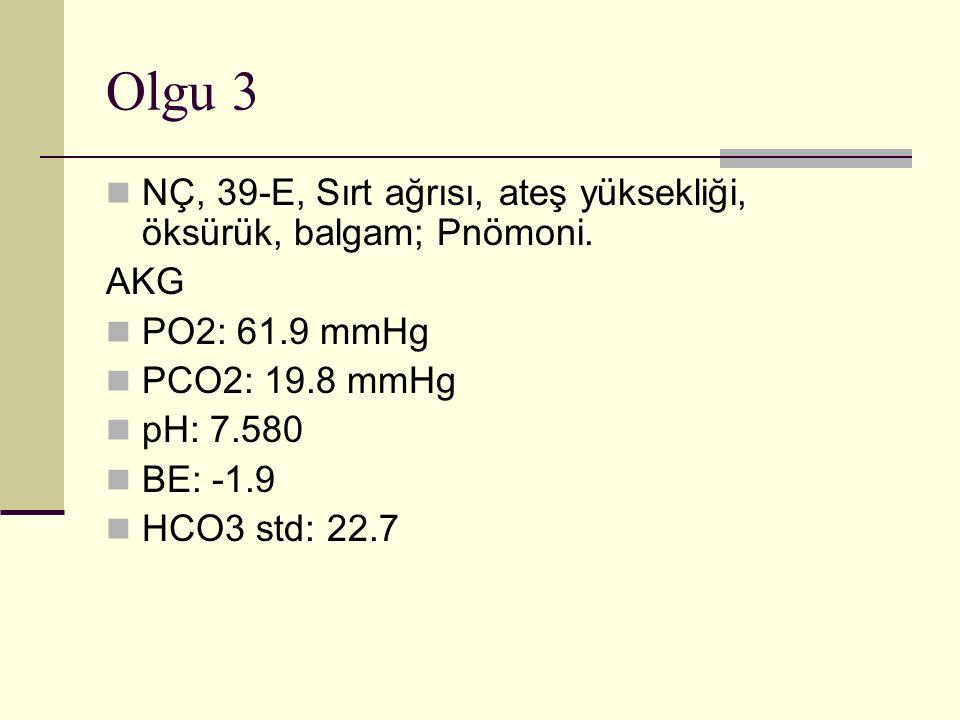 Olgu 3 NÇ, 39-E, Sırt ağrısı, ateş yüksekliği, öksürük, balgam; Pnömoni.