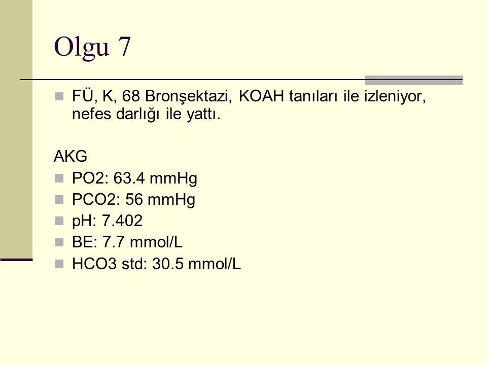 Olgu 7 FÜ, K, 68 Bronşektazi, KOAH tanıları ile izleniyor, nefes darlığı ile yattı.