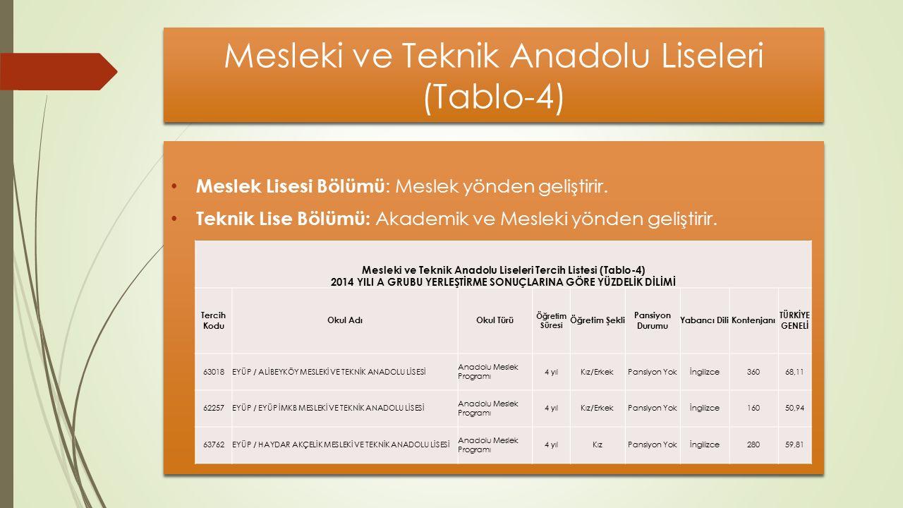 Mesleki ve Teknik Anadolu Liseleri (Tablo-4) Meslek Lisesi Bölümü : Meslek yönden geliştirir.