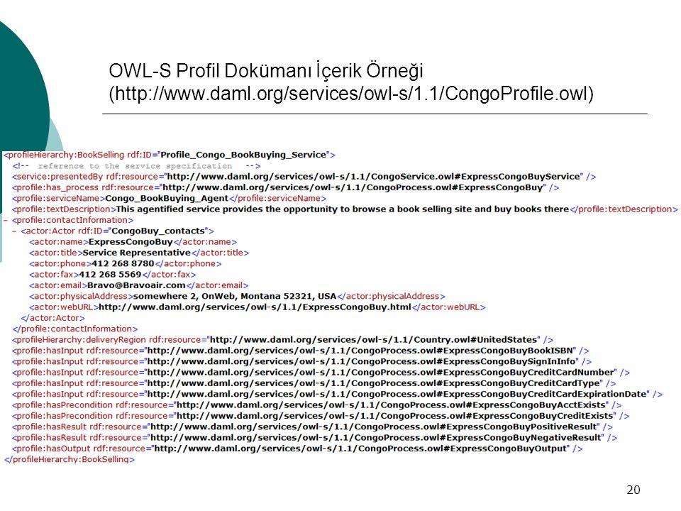 20 OWL-S Profil Dokümanı İçerik Örneği (http://www.daml.org/services/owl-s/1.1/CongoProfile.owl)