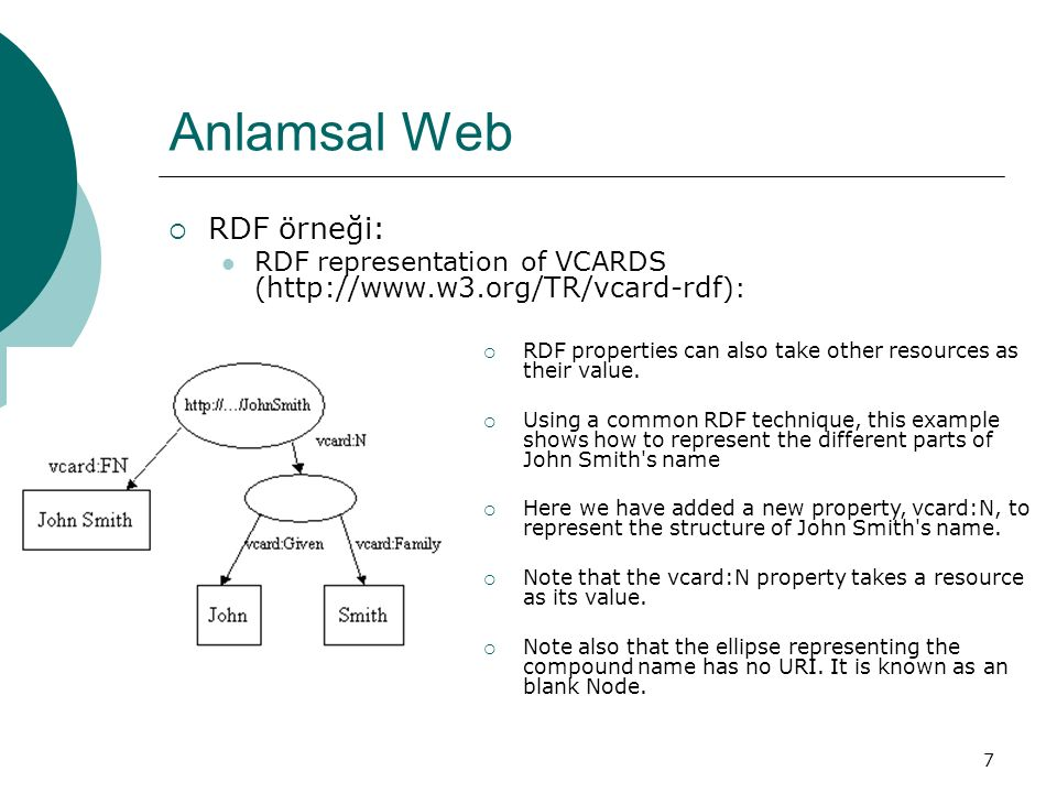 7 Anlamsal Web  RDF örneği: RDF representation of VCARDS ( http://www.w3.org/TR/vcard-rdf ):  RDF properties can also take other resources as their value.