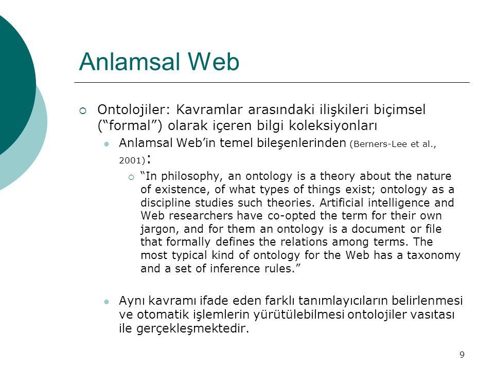 """9 Anlamsal Web  Ontolojiler: Kavramlar arasındaki ilişkileri biçimsel (""""formal"""") olarak içeren bilgi koleksiyonları Anlamsal Web'in temel bileşenleri"""