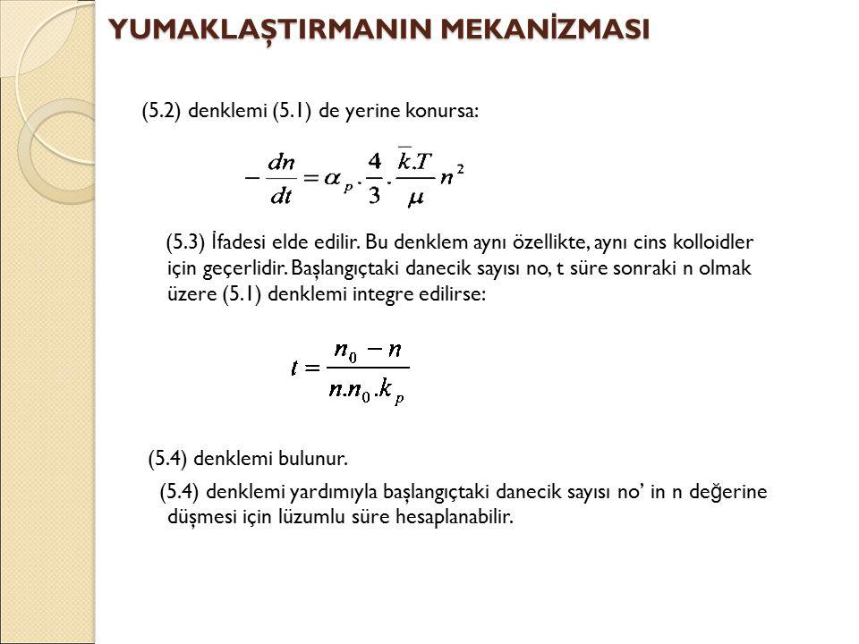 (5.2) denklemi (5.1) de yerine konursa: (5.3) İ fadesi elde edilir.