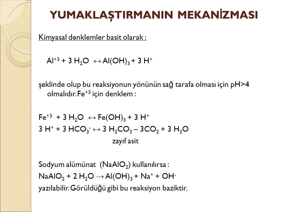 Kimyasal denklemler basit olarak : Al +3 + 3 H 2 O ↔ Al(OH) 3 + 3 H + şeklinde olup bu reaksiyonun yönünün sa ğ tarafa olması için pH>4 olmalıdır.