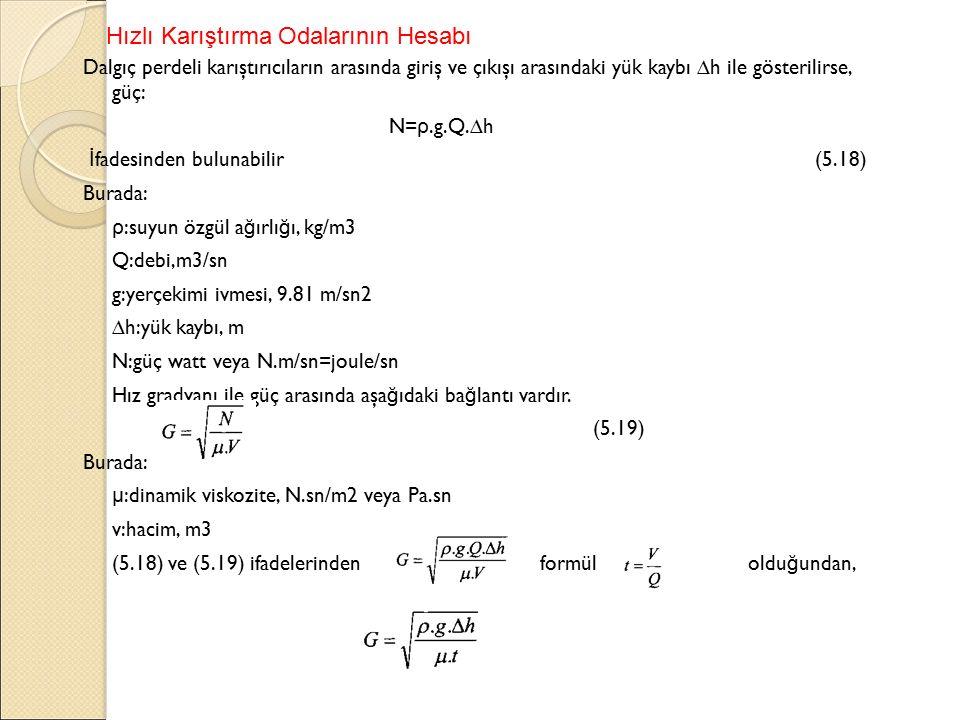 Dalgıç perdeli karıştırıcıların arasında giriş ve çıkışı arasındaki yük kaybı ∆h ile gösterilirse, güç: N= ρ.g.Q.∆h İ fadesinden bulunabilir (5.18) Burada: ρ :suyun özgül a ğ ırlı ğ ı, kg/m3 Q:debi,m3/sn g:yerçekimi ivmesi, 9.81 m/sn2 ∆h:yük kaybı, m N:güç watt veya N.m/sn=joule/sn Hız gradyanı ile güç arasında aşa ğ ıdaki ba ğ lantı vardır.