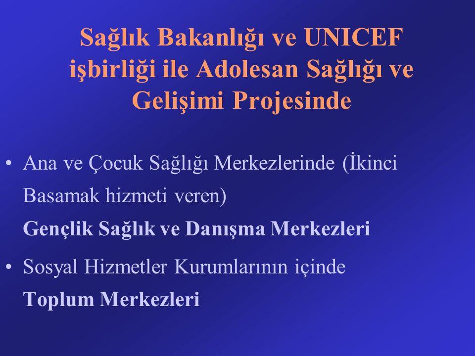Sağlık Bakanlığı ve UNICEF işbirliği ile Adolesan Sağlığı ve Gelişimi Projesinde Ana ve Çocuk Sağlığı Merkezlerinde (İkinci Basamak hizmeti veren) Gençlik Sağlık ve Danışma Merkezleri Sosyal Hizmetler Kurumlarının içinde Toplum Merkezleri