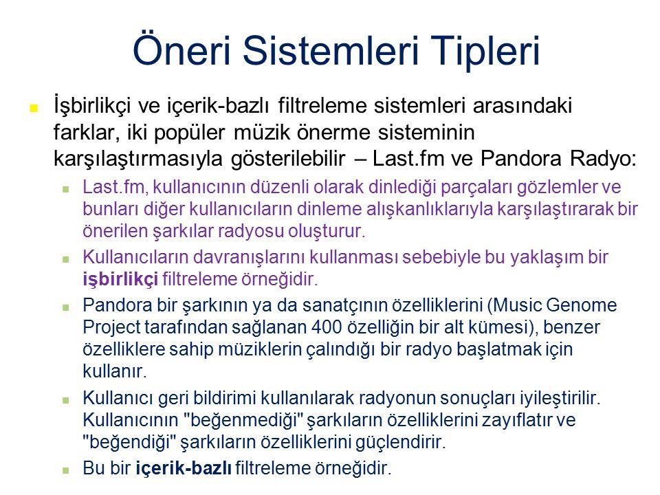 Öneri Sistemleri Tipleri İşbirlikçi ve içerik-bazlı filtreleme sistemleri arasındaki farklar, iki popüler müzik önerme sisteminin karşılaştırmasıyla g