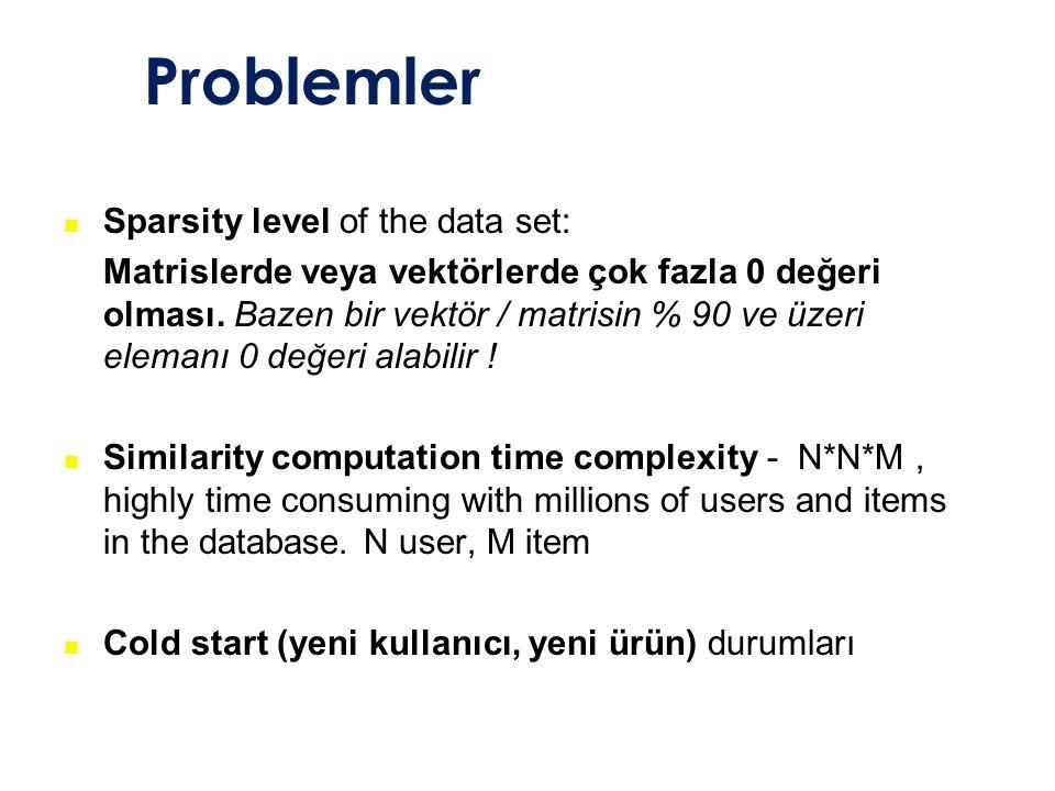 Problemler Sparsity level of the data set: Matrislerde veya vektörlerde çok fazla 0 değeri olması. Bazen bir vektör / matrisin % 90 ve üzeri elemanı 0