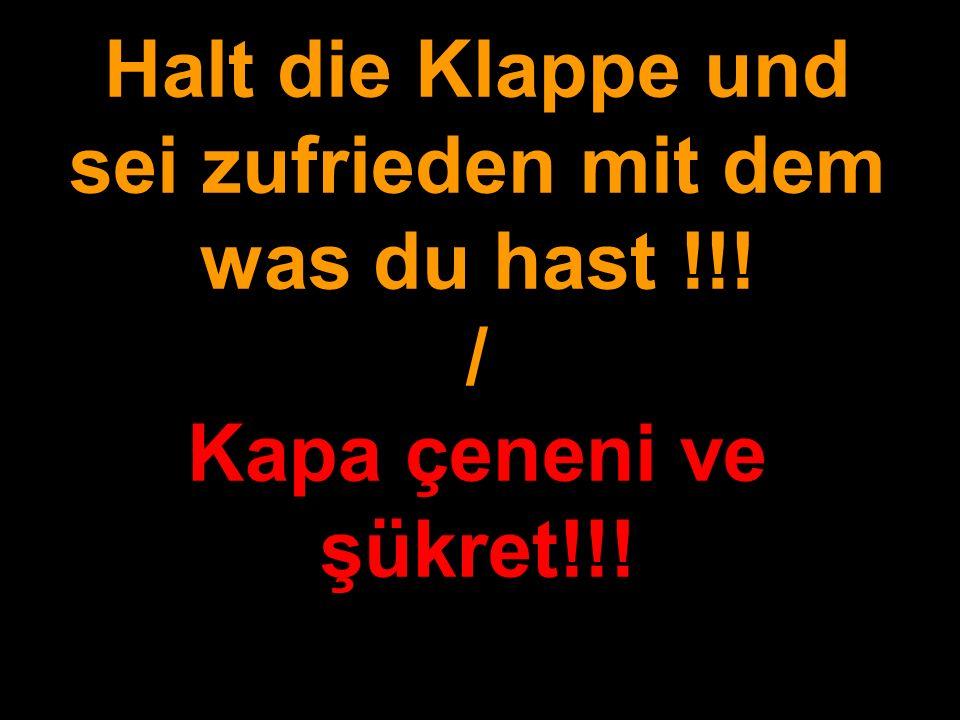 Halt die Klappe und sei zufrieden mit dem was du hast !!! / Kapa çeneni ve şükret!!!