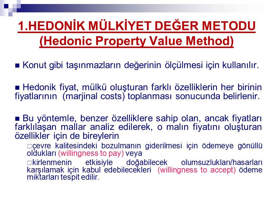 1.HEDONİK MÜLKİYET DEĞER METODU (Hedonic Property Value Method) Konut gibi taşınmazların değerinin ölçülmesi için kullanılır.