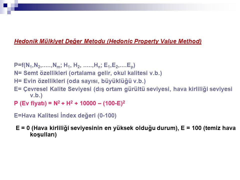 Hedonik Mülkiyet Değer Metodu (Hedonic Property Value Method) P=f(N 1,N 2,.....,N m ; H 1, H 2,.....,H n ; E 1,E 2,....E p ) N= Semt özellikleri (ortalama gelir, okul kalitesi v.b.) H= Evin özellikleri (oda sayısı, büyüklüğü v.b.) E= Çevresel Kalite Seviyesi (dış ortam gürültü seviyesi, hava kirliliği seviyesi v.b.) P (Ev fiyatı) = N 2 + H 2 + 10000 – (100-E) 2 E=Hava Kalitesi İndex değeri (0-100) E = 0 (Hava kirliliği seviyesinin en yüksek olduğu durum), E = 100 (temiz hava koşulları)