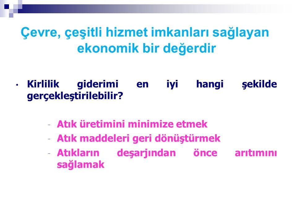 ÇEVRESEL KAYNAKLARIN EKONOMİK AÇIDAN DEĞERLENDİRİLMESİ (FİYATLANDIRILMASI) Mart 2016 Ortolano, 1996; 6.