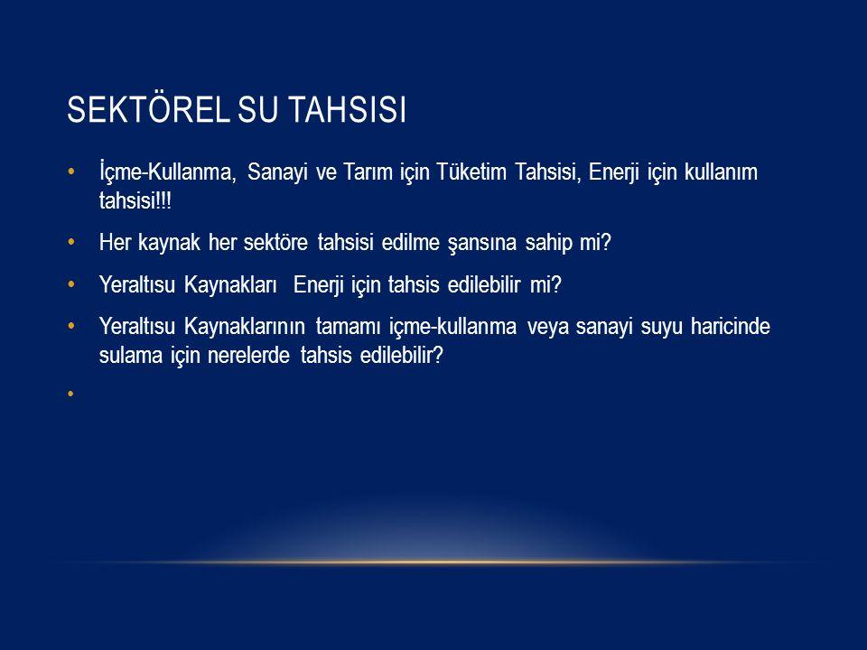 SEKTÖREL SU TAHSISI İçme-Kullanma, Sanayi ve Tarım için Tüketim Tahsisi, Enerji için kullanım tahsisi!!.