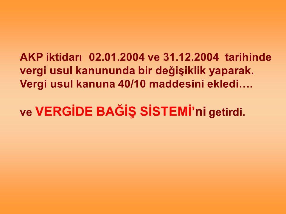 AKP iktidarı 02.01.2004 ve 31.12.2004 tarihinde vergi usul kanununda bir değişiklik yaparak.
